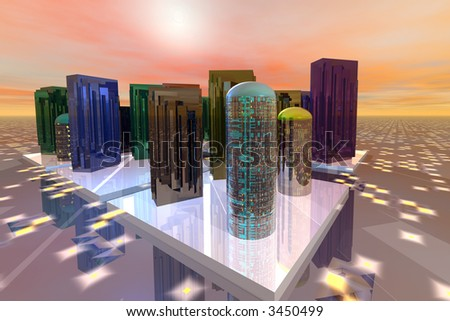 Futuristic city in orange light - stock photo