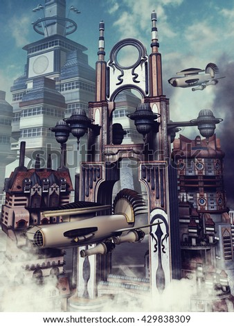 Futuristic city in the clouds with zeppelins and other flying machines. 3D illustration.