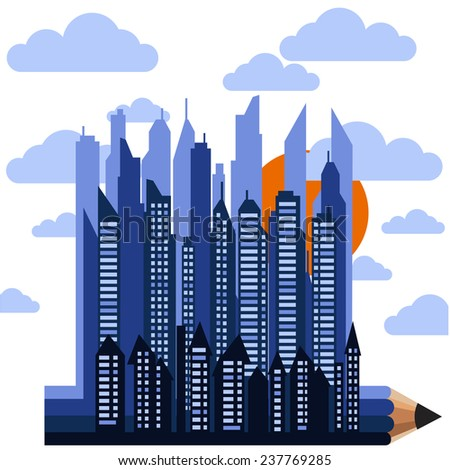 Futuristic city on pencil in clouds with sun on white background cartoon flat design style. Raster version - stock photo