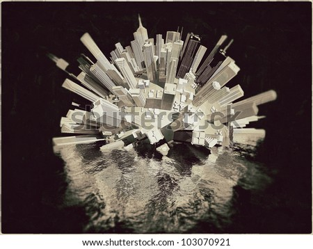 futuristic city sinking down the sea isolated on black background