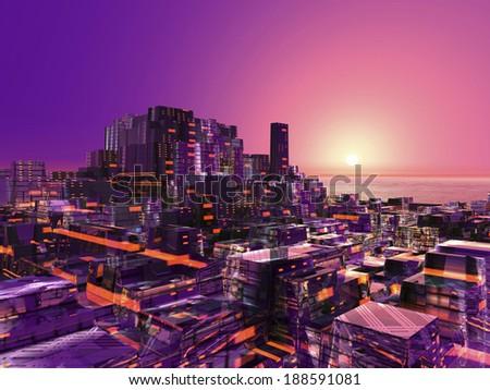 Futuristic city with sunrise  - stock photo