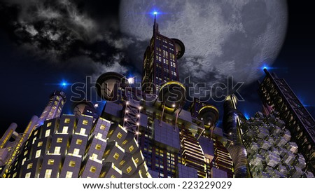 Futuristic cityscape at night, with an upper perspective on architectural structures and a giant looming blue moon, for science fiction or fantasy backgrounds - stock photo