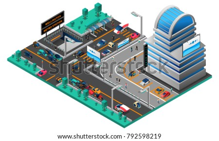 Futuristic cityscape isometric composition with building cars of new generation road and metro station  illustration