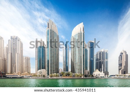 Futuristic cityscape of Dubai marina - stock photo