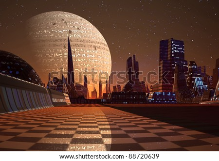 Futuristic Cityscape on an alien planet, science fiction scene - stock photo