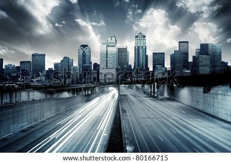 Futuristic Cityscape with blue tint - stock photo