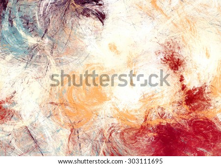 Futuristic color clouds. Artistic splashes of bright paints. Abstract painting pattern. Soft texture for creative graphic design. Light background for interior, flyer cover, poster. Fractal art - stock photo