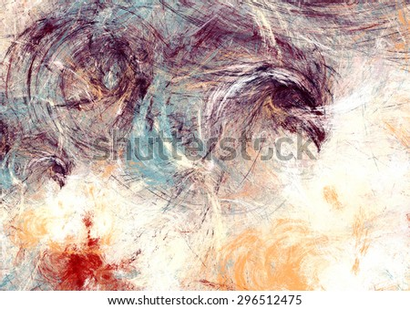 Futuristic color clouds. Artistic splashes of bright paints. Abstract pattern. Soft texture for creative graphic design. Light background for wallpaper, interior, flyer cover, poster. Fractal art - stock photo