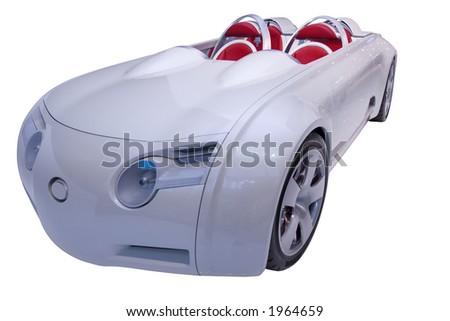 Futuristic convertible on white background - stock photo