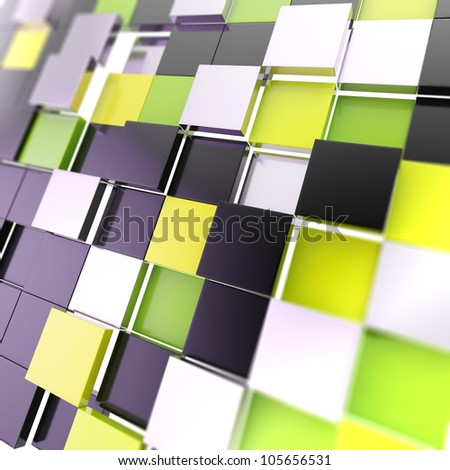 Futuristic copyspace background made of chaotic green and black cubic plates - stock photo