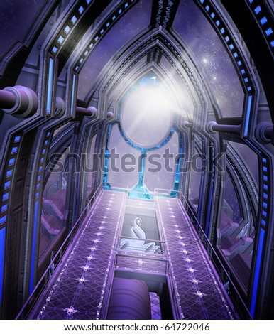 Futuristic corridor with purple lights