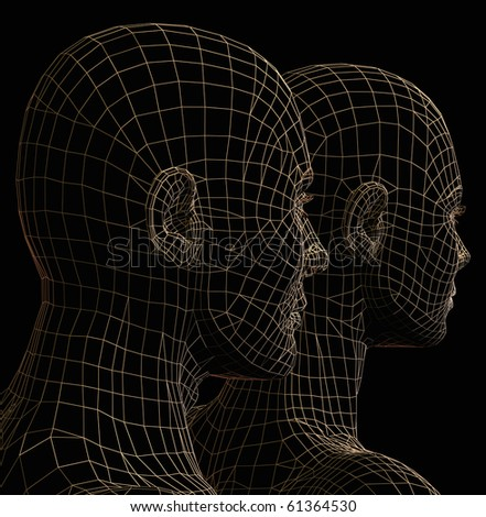 Futuristic couple wire frame silhouette. 3d illustration on black background. - stock photo