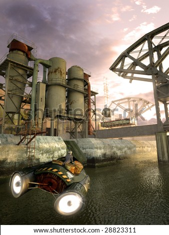 Futuristic craft rushes towards old steel factory (3D render) - stock photo
