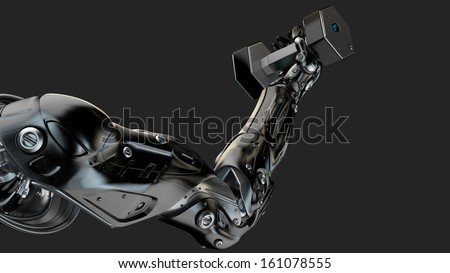 Futuristic cyber hand lifting fitness dumbbell / Strong muscular robotic arm