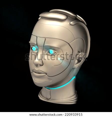 Futuristic cyborg head on the black background - stock photo