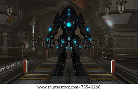 futuristic cyborg soldier - stock photo