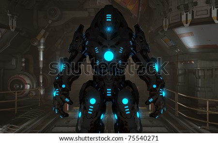 futuristic cyborg soldier - stock photo