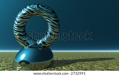 futuristic 3d render with strange ring statue - stock photo