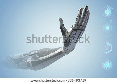 Futuristic design concept. A robotic mechanical arm looklike a human hand. Hand Showing number four with fingers. Counting down sign gesture. - stock photo