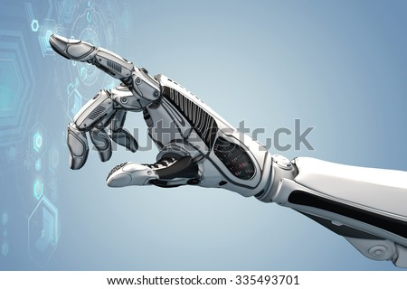 Futuristic design concept. A robotic mechanical arm looks as like a human hand. Cybernetic organism with Artificial Intelligence working with virtual Infographic HUD. - stock photo