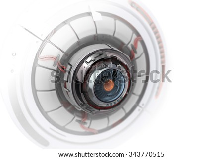 Futuristic design of Conceptual electronic cyber eye. Mechanical artificial robot detail closeup. 3d render with depth of field on white background - stock photo