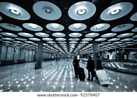 Futuristic design of the arrival hall of the Barajas airport - Madrid, Spain - stock photo