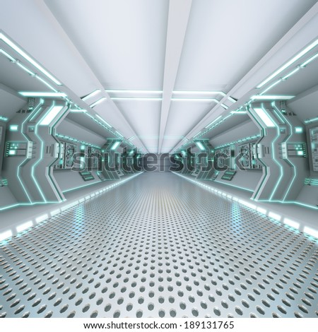 futuristic design spaceship interior with metal floor and light panels  - stock photo