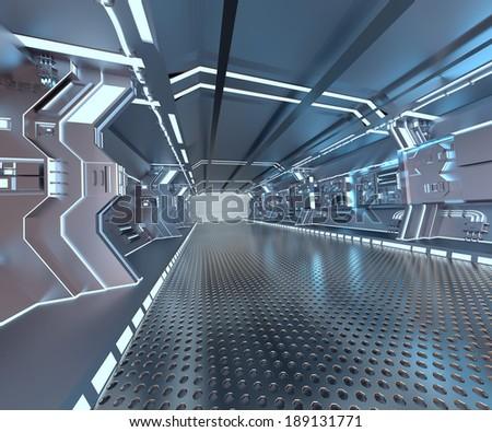 futuristic design spaceship interior with metal floor and light panels  - stock photo