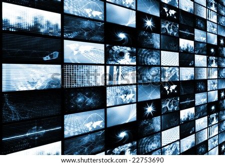 Futuristic Digital Age TV and Channels Background - stock photo