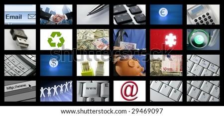 Futuristic Digital Age TV Channels Background, tech communication [Photo Illustration] - stock photo