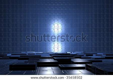 futuristic digital room, power tech background, digital industry,  technology of tomorrow, blue cells geometry, electronic room, technology wallpaper, futuristic geometry