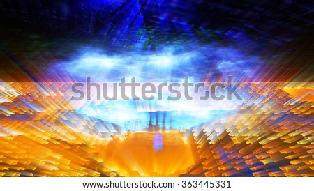 Futuristic digital technological display 10699 with numbers, letters and light effects.