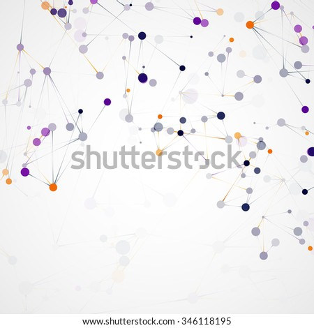Futuristic dna, abstract molecule cell illustration - stock photo