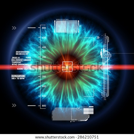 Futuristic eye with laser ray - stock photo