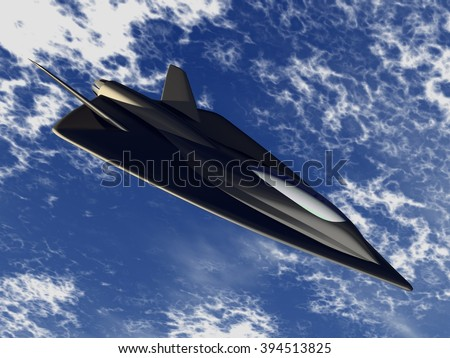 Futuristic fictional arrow-shaped black stealth jet aircraft flying at a very high altitude, above the ocean and clouds - stock photo