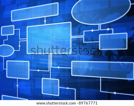 Futuristic flowchart - stock photo