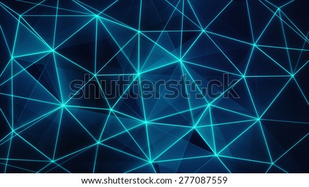 futuristic glowing blue network mesh. computer generated abstract background - stock photo