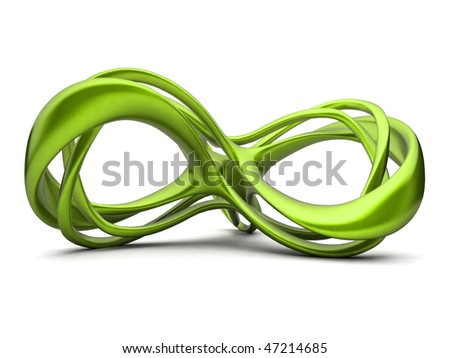 Futuristic green 3d infinity sign illustration. For other colors please check my portfolio - stock photo