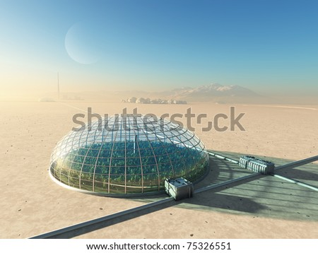 futuristic greenhouse in desert - stock photo