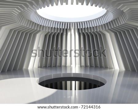 Futuristic hall.  architecture background - stock photo