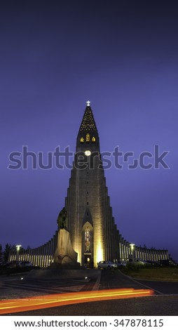 Futuristic Hallgrimskirkja church in Reykjavik, Iceland - stock photo