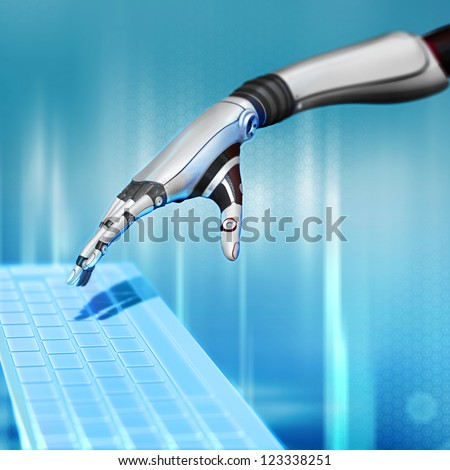 futuristic hand on blue abstract background sci-fi robot working with white computer keyboard - stock photo