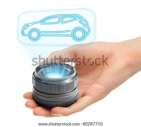 Futuristic holographic car projection. - stock photo