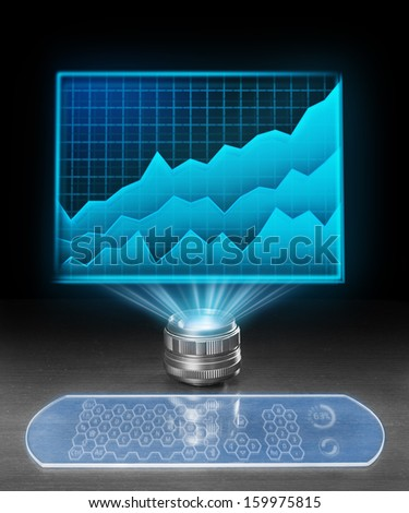 Futuristic holographic computer displaying economic prognosis. - stock photo