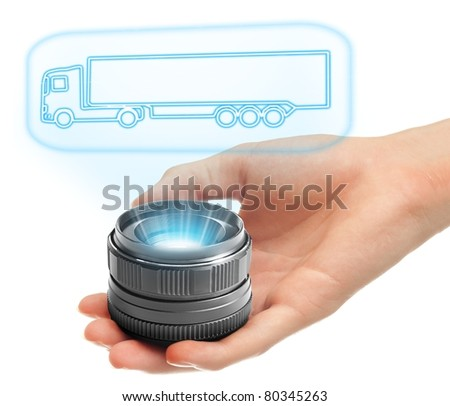 Futuristic holographic truck projection. - stock photo