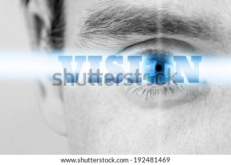 Futuristic image of sign Vision using human eye as the letter O. - stock photo