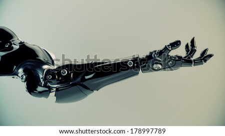 Futuristic innovation - artificial arm / Future technology in black prosthetic hand on white. 3ds max render - stock photo