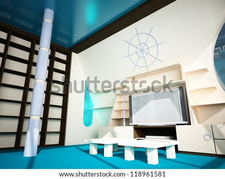 Futuristic interior in modern style of the penthouse. Penthouse with a window in the wall