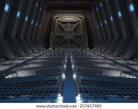 Futuristic interior of a space station - stock photo