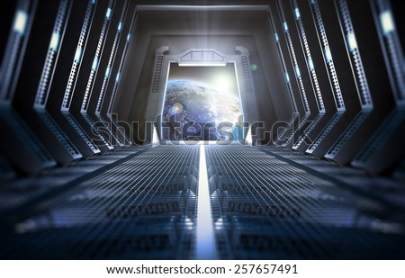 Futuristic interior of a space station with a view of Earth - stock photo